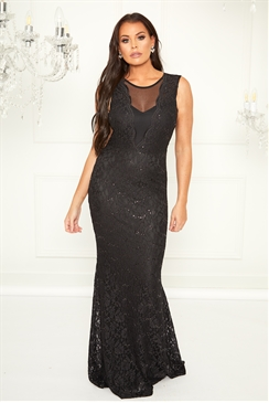 Sistaglam Loves Jessica Wright Verena black mesh panel maxi sequin lace dress with fish tail hem