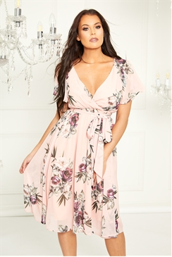 Sistaglam Loves Jessica Wright Kathleen pink multi floral shift dress