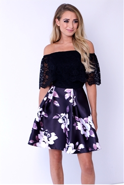 Sistaglam Satya Black Off The Shoulder Top Dress With Floral Print Skater Skirt