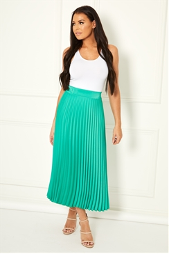 Jessica Wright Betty green pleated midi skirt