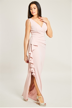 Jessica Wright Amiya Blush Wrap Neckline Maxi Dress With Ruched Waist And Side Frill