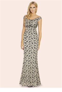 Sistaglam Gracie Gold Glitter Lurex Bardot Maxi Dress