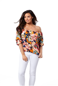 Jessica Wright Alina Pleated Peach Chiffon Bardot Top