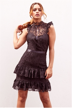 Sistaglam Jasmine black all over lace frill mini dress