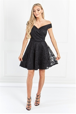 Sistaglam Martina black Lace Bardot Prom Dress