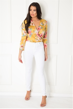 Jessica Wright Dyanna mustard floral print long sleeve bodysuit