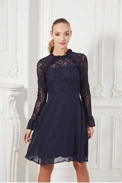 Sistaglam Pauly navy high neck lace mini dress