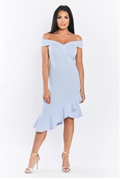 Sistaglam Loves Jessica Wright Rona pale blue bodycon with assymetric frill hem