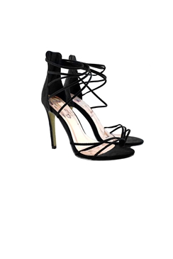 Jessica Wright Claudette Black Suede Strappy Stiletto Heels