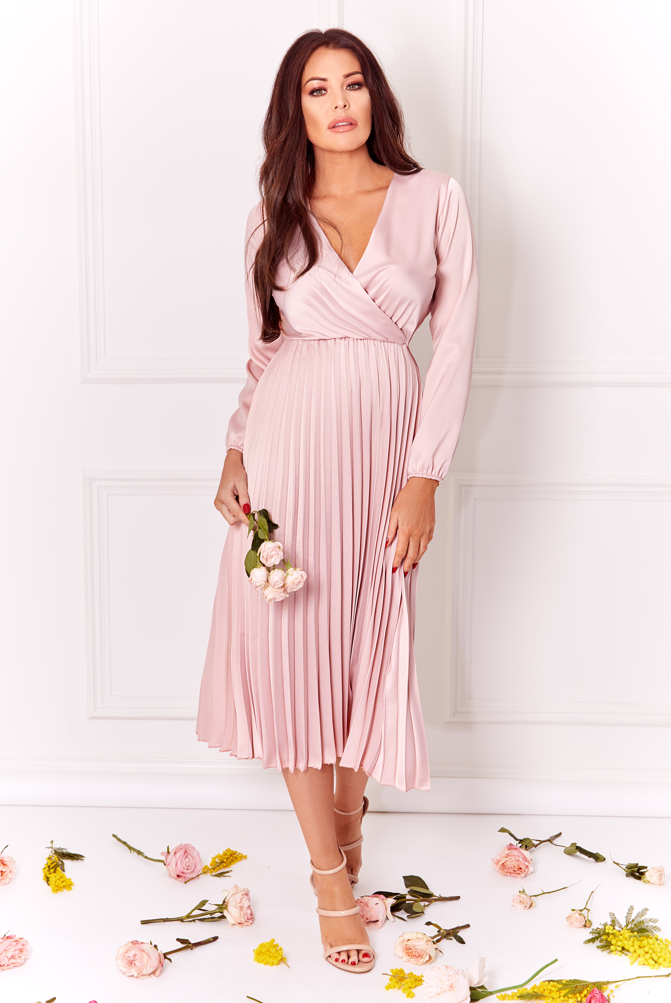 72bddc8cfb82 Jessica Wright Cynthia blush long sleeve wrap neckline pleated midi ...