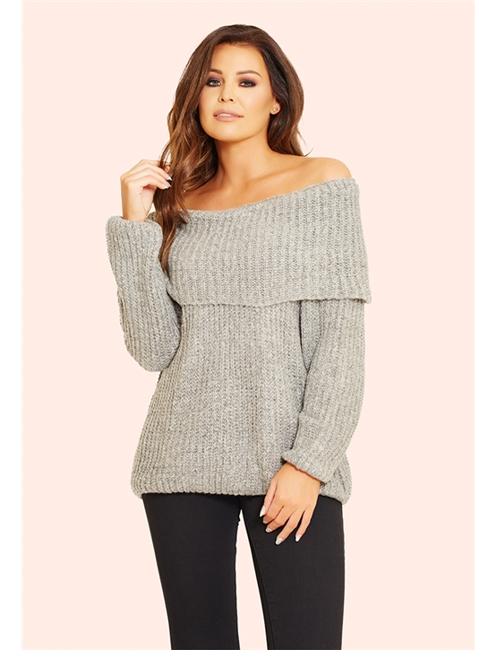 Jessica Wright Alia Grey Off The Shoulder Knit Jumper- currently unavailable 5b963d8b6