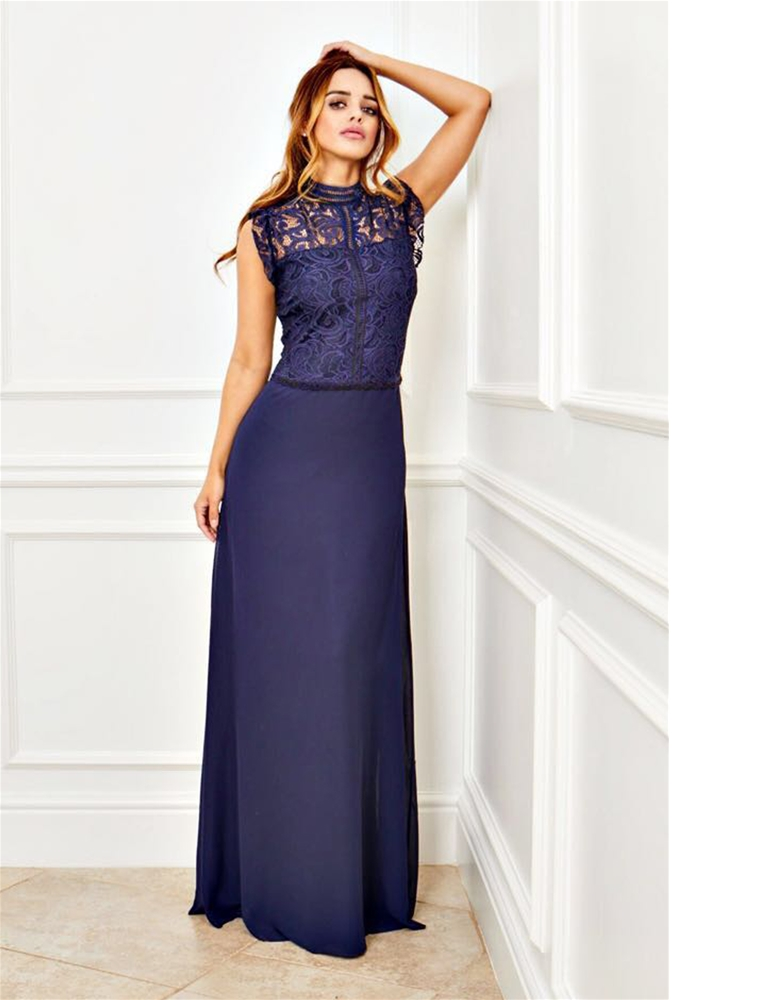 1b331f39dd4 Sistaglam Pauline navy high neck lace bodice and chiffon maxi dress ...
