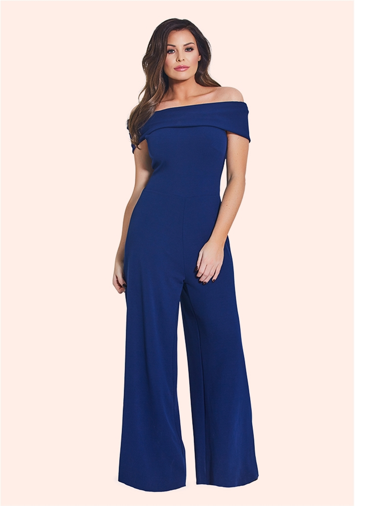 7a8c30e986d Jessica Wright Deanna Navy Bardot Wide Leg Jumpsuit - currently ...