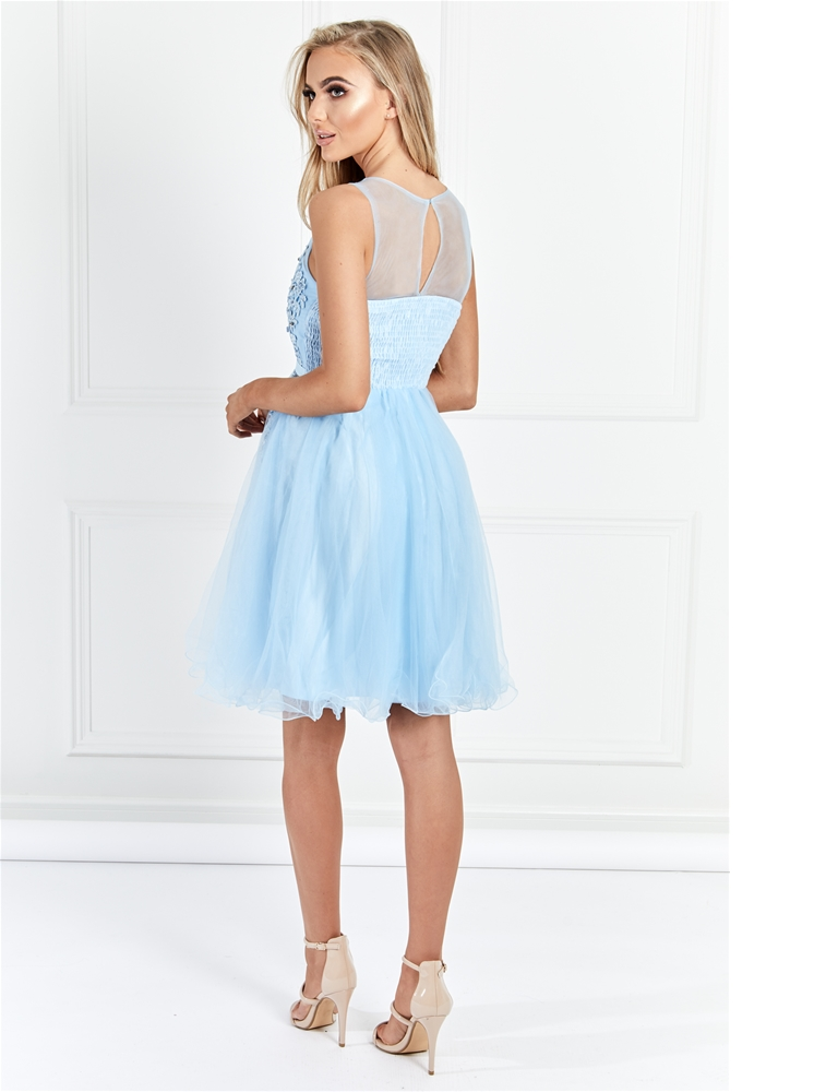 Sistaglam Lovie Baby Blue Mesh Embroidered Lace Skater Prom Dress-  currently unavailable 2f9e2c6d6