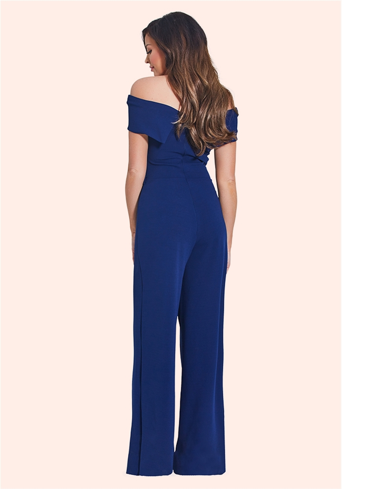 ce7b22dee3c Jessica Wright Deanna Navy Bardot Wide Leg Jumpsuit - currently unavailable