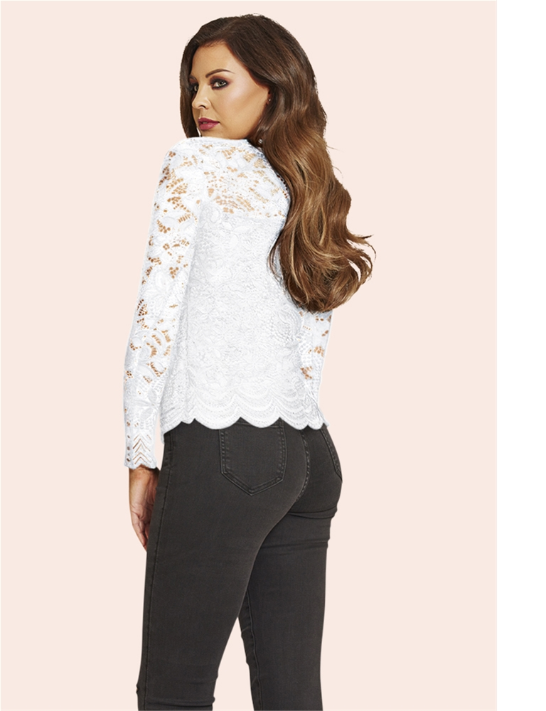 90b0f4c8468e9e Jessica Wright Essie White Lace Sweetheart Neckline Top- currently  unavailable