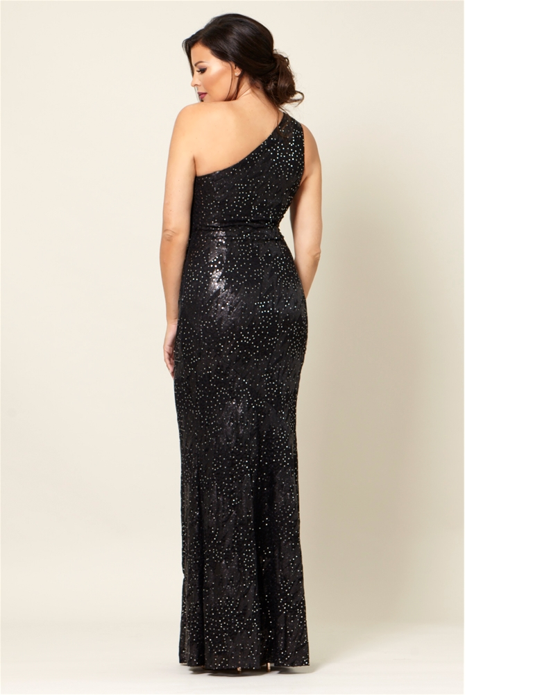 845c687b720 Jessica Wright Tuni Black Sequin One Shoulder Maxi Dress- currently  unavailable