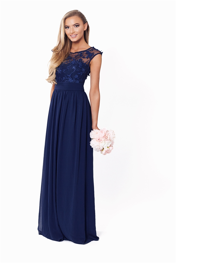 shop for best purchase genuine top quality Sistaglam Beverley Navy Embellished Maxi Dress