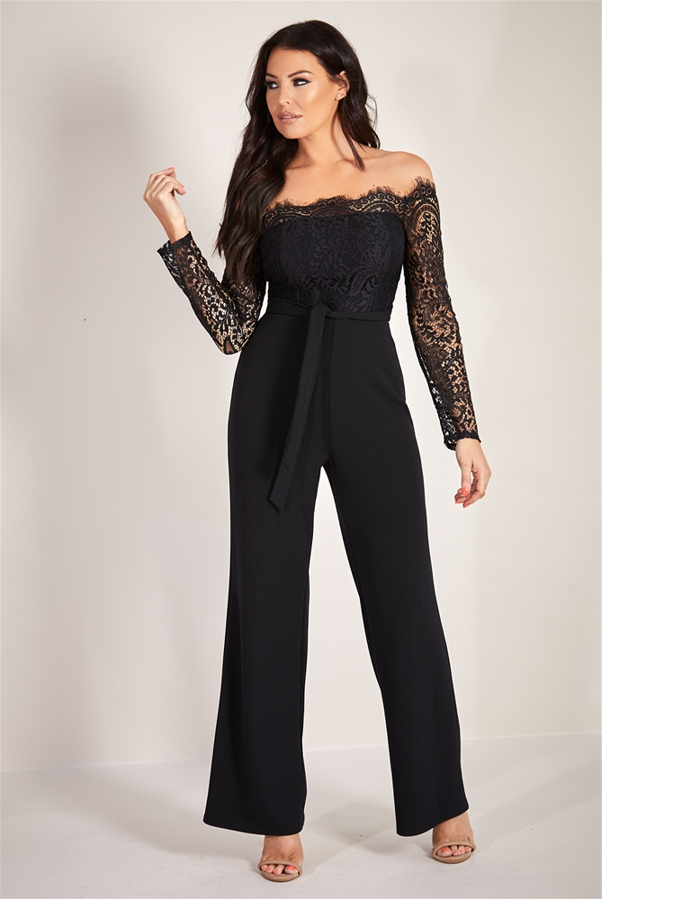 Sistaglam Loves Jessica Wright Davena Black Eyelash Trim Detail Wide Leg Long Sleeve Jumpsuit Currently Unavailable