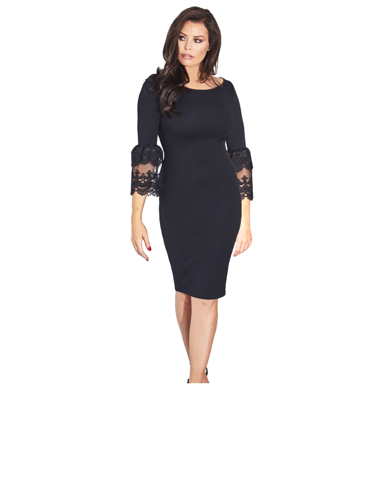 c847a2edc0a Jessica Wright Rae Lace Trim Bell Sleeve Bodycon Dress