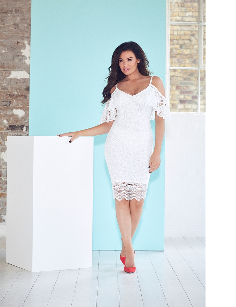 94d951249ae Jessica Wright Saydee White Lace Cold Shoulder Bodycon Dress ...