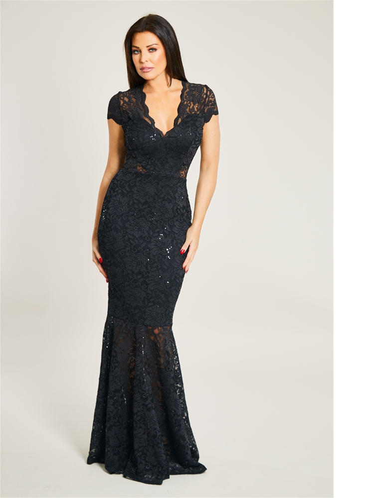 a5abf237 Jessica Wright Kennedy Black V Neck Sequin Lace Maxi Dress With ...