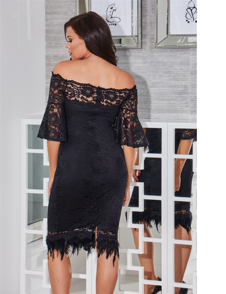 Jessica Wright Ivana Black Off The Shoulder All Over Lace