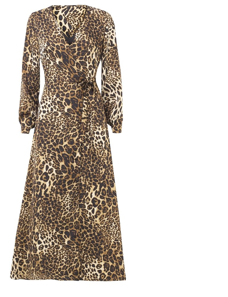 Sistaglam Loves Jessica Wright Kris brown multi animal print long sleeve  satin wrap maxi dress - currently unavailable 4a2cf36c6
