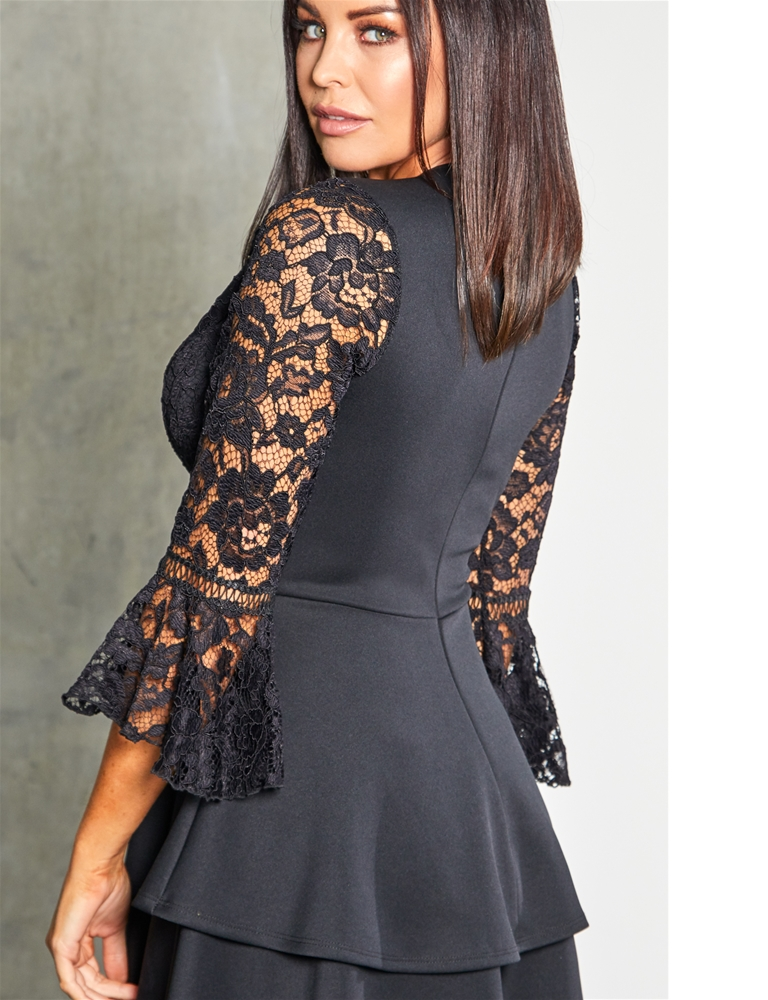 Sistaglam loves Jessica Wright Novanne black 2 in 1 lace skater dress with tiered  skirt 0b2aa7973