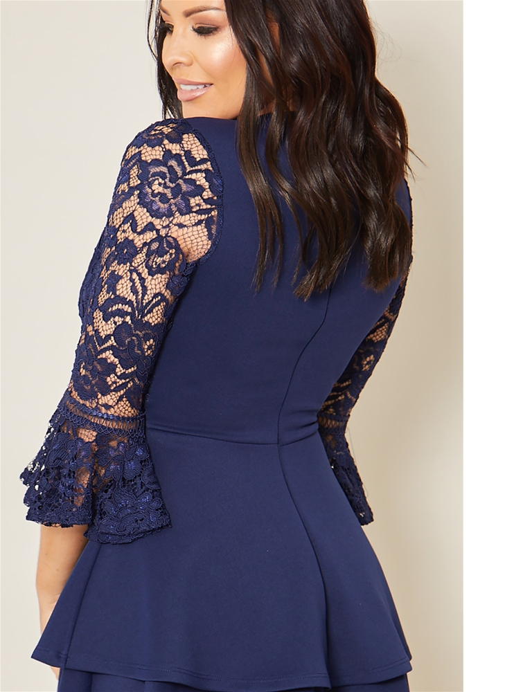 Sistaglam loves Jessica Wright Novanne navy 2 in 1 lace skater dress with tiered  skirt 447cda10d