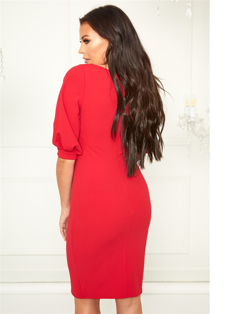 91b3255f36370 Sistaglam Loves Jessica Wright Klizia red v neck bodycon midi dress with  blouson sleeve detail- currently unavailable