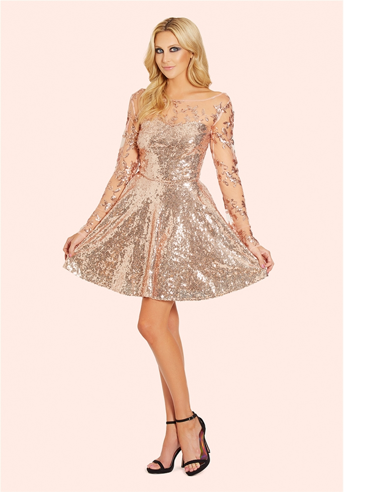 dacfe8053ede Sistaglam Esmay Rose Gold Skater Dress- currently unavailable