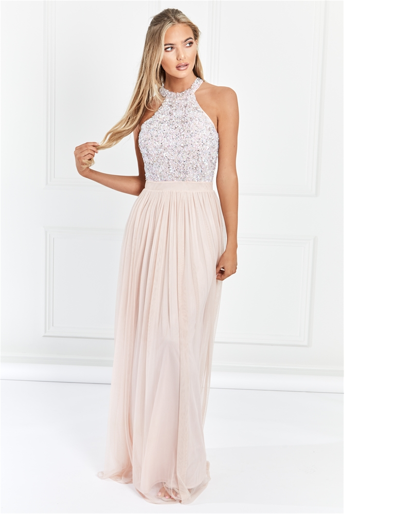 9f49a6d3dae3e Sistaglam Selena Blush/pink Chiffon And Sequin Maxi Dress