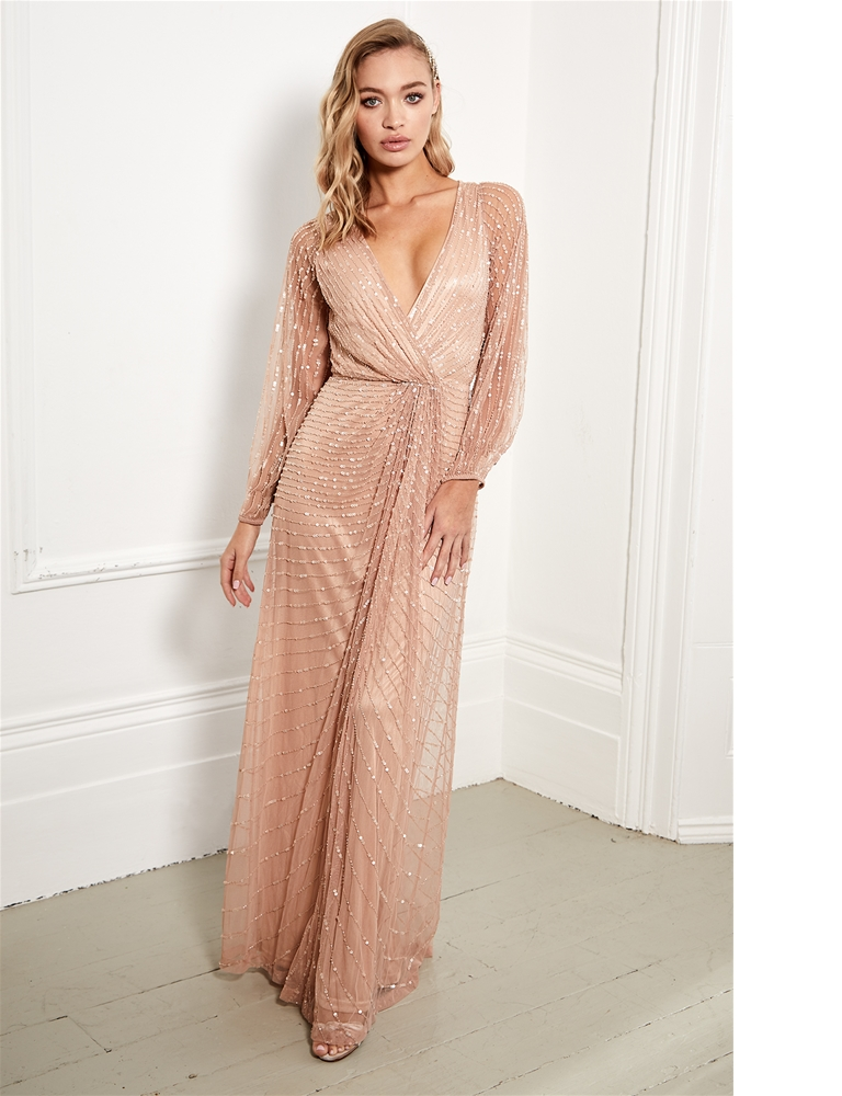 670bec2ab4b0 Sistaglam Daisie pink embellished long sleeve wrap maxi dress