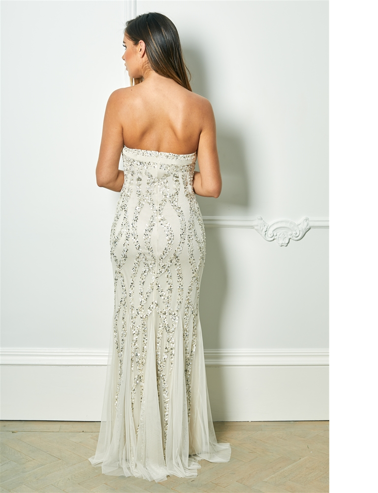fdbc07f998 Sistaglam Special Edition Jessica Rose Mimmi Cream Bandeau Pattern Sequin  Fish Tail Maxi Dress- currently unavailable