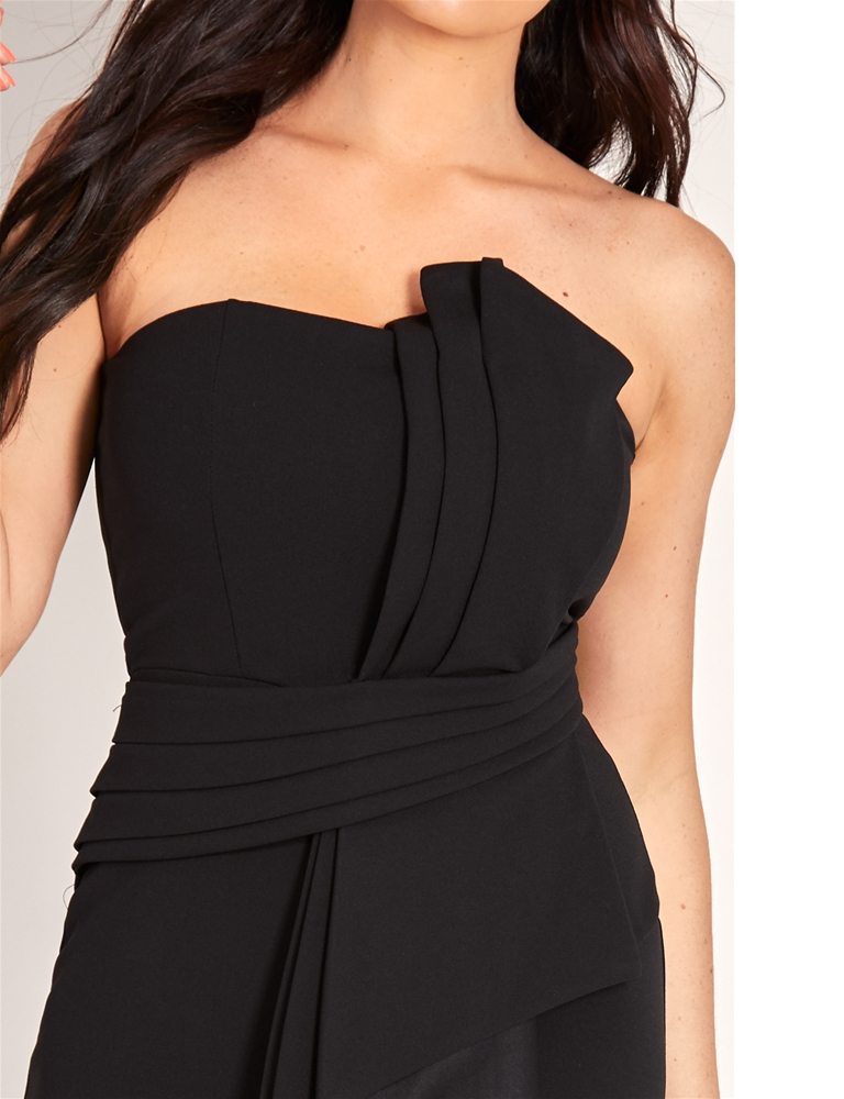 b7c4d27eff5 Sistaglam Loves Jessica Wright Shanna Black structured bandeau origami  pleated tailored maxi dress