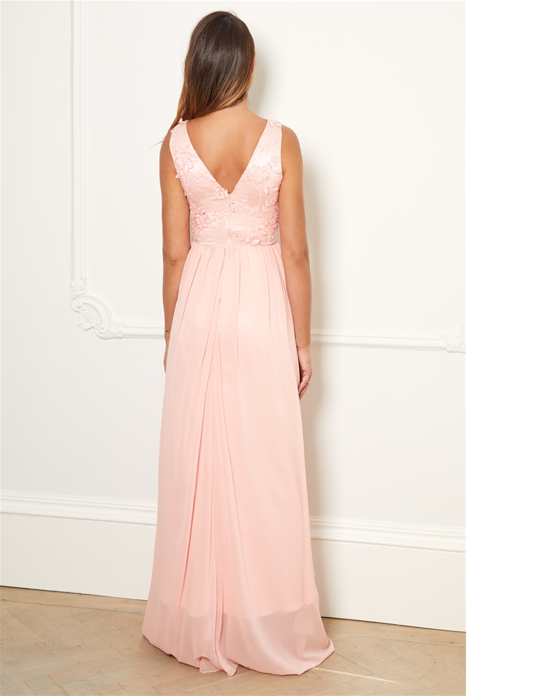 a666e398c44c Sistaglam Special Edition Jessica Rose Baliana pink/Blush v neck maxi dress