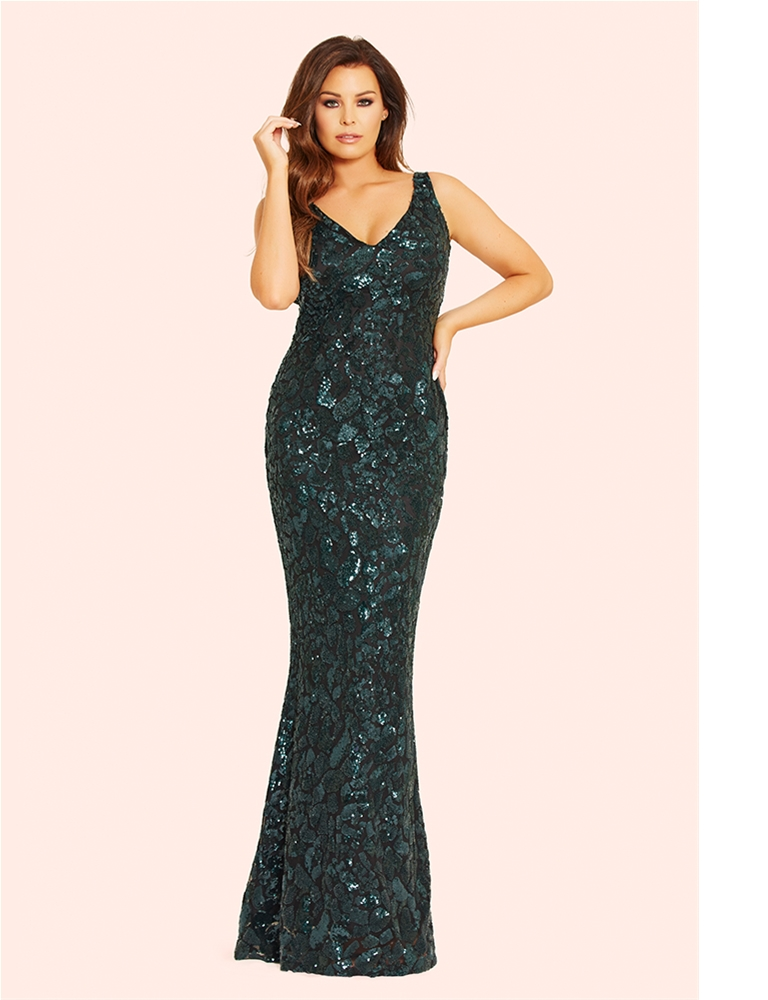 382a016fcd4 Jessica Wright Deena Black and Forest Green All Over Sequin Maxi ...