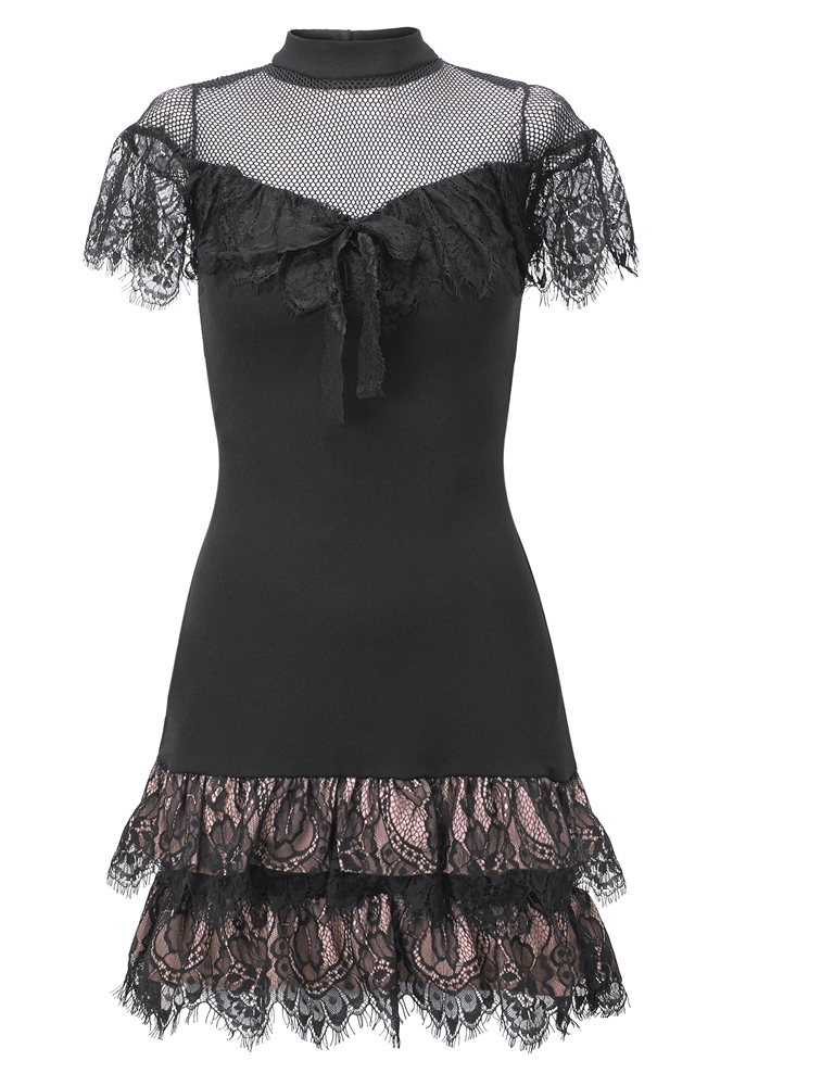 122965976d Sistaglam Tia doll black mesh high neck with short sleeves and frill ...
