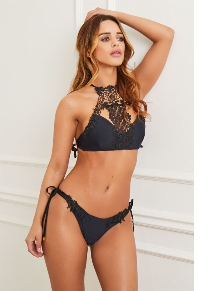 5e3ded46f7731 Sistaglam Ashley black lace trim high neck bikini set- currently ...
