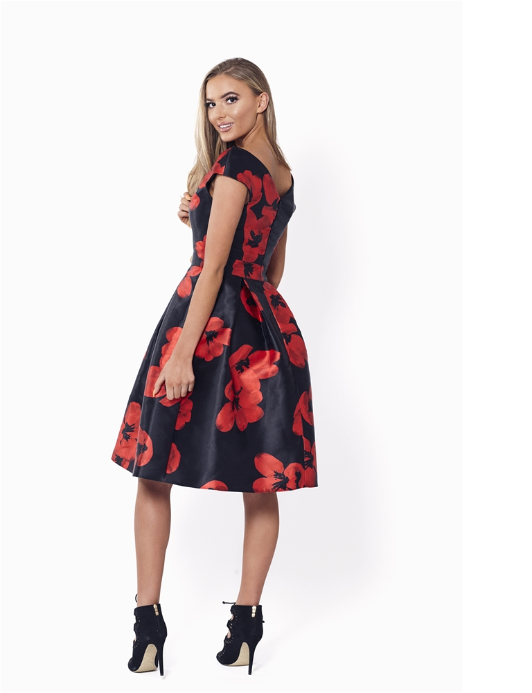 Sistaglam Rose Red And Black Floral Dress Currently Unavailable