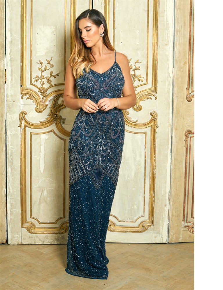 56148b0f30 Sistaglam Special Edition Jessica Rose Flory navy beaded maxi dress ...