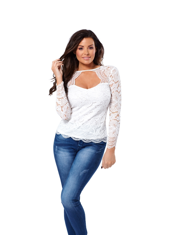 26990eaa727ffb Jessica Wright Essie White Lace Sweetheart Neckline Top- currently ...
