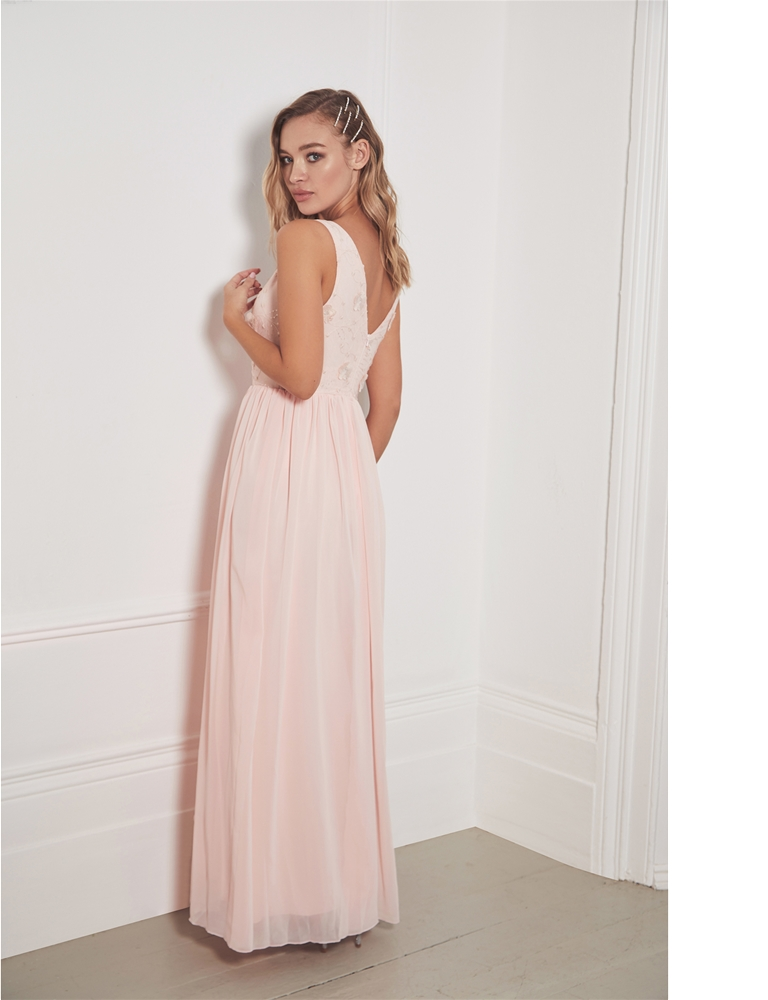 2572cd721c0c Sistaglam Special Edition Jessica Rose Baliena blush v neck maxi dress