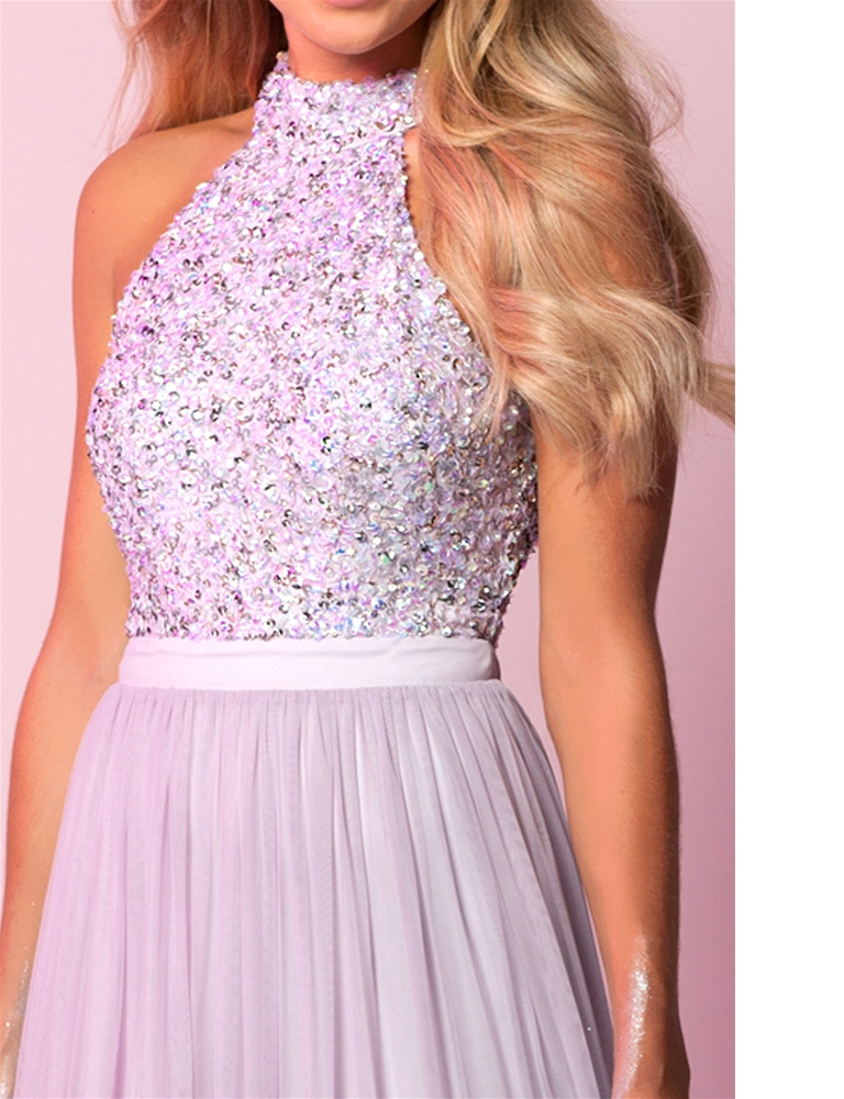 f26ab3bd62b94 Sistaglam Selena Lilac/purple Chiffon and Sequin Maxi Dress