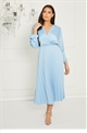 Jessica Wright Cynthia Blue long sleeve wrap neckline pleated midi dress