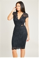 Jessica Wright Kennia Black All over Lace Sequin Cap Sleeve Midi Dress