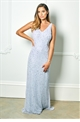 Sistaglam Lindiana light blue all over sequin maxi dress