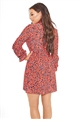 Sista Glam Loves Jessica Wright Mitzy red animal print sleeve skater dress with tie neck