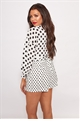 Jessica Wright Wilma black white high waisted polka dot tailored shorts with tie belt